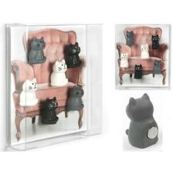Mini magneetjes Kat zwart, wit, grijs