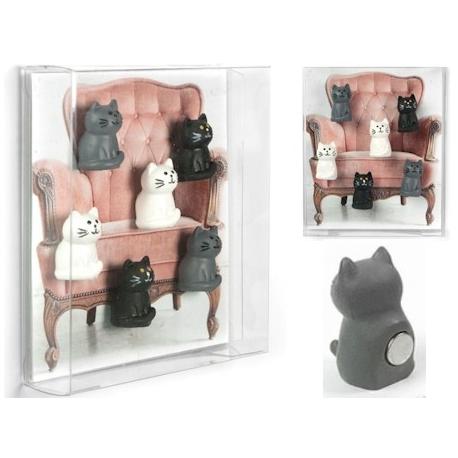 Mini fridge magnets Cat black, white, greyAnimal Magnets