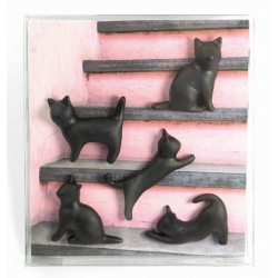 Mini magneetjes kat zwart