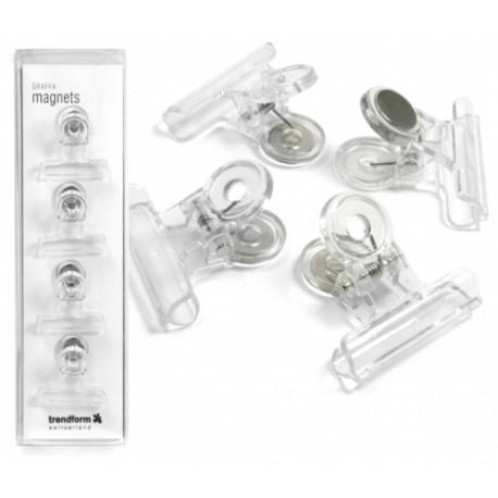 Magneet klem Graffa transparant (4 stuks)Magneet Haak en Klem
