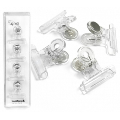 Magnet clip Graffa transparant (4 pieces)Magnet Hook and Clip